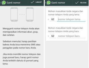 Whatsapp ganti nomor